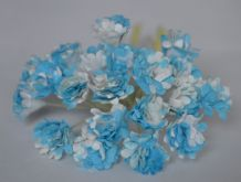 BRIGHT CYAN WHITE GYPSOPHILA / FORGET ME NOT Mulberry Paper Flowers